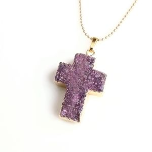 Genuine druzy gold-plated cross necklace